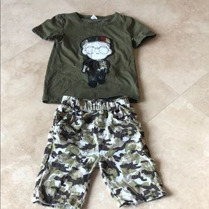 Two-piece boys camouflage shorts set